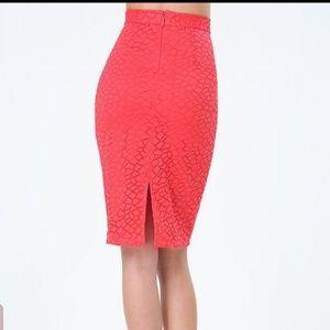 NWT BEBE Geo Lace Midi Skirt. Size 10